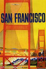SAN FRANCISCO GOLDEN GATE BRIDGE PLANE TRAVEL TOURISM VINTAGE POSTER REPRO