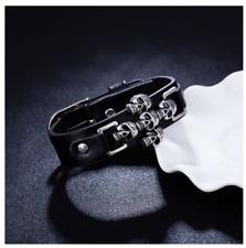 Bracelet gourmette manchette cuir noir 5 crane tete mort acier skull rivet biker