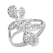 Pure 10k White Gold Diamond Cut Filigree Wrap Interlocking Leaves Ring