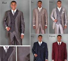 Milano Moda Men's 3 Piece High Fashion Modern 3 Button Suit, Pants, Vest 5907v