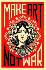 """Make Art Not War, Art Silk poster 12x18"""" 24x36"""" print Room wall Decor"""
