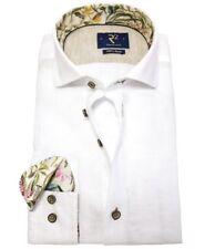 R2 Amsterdam Langarmhemd Modern Fit Leinen weiss mit floralen Patches Gr. 38-46