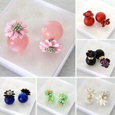 Double sided Faux Pearl Earring Flower Stud