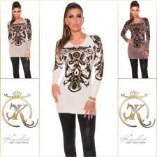 Trendy Plüsch Kuschelweich Pullover Pulli Muster Damen Neu 36 38 40 42 S M L XL
