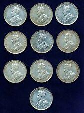 AUSTRALIA  GEORGE V  1936  1 FLORIN SILVER COINS  (10)