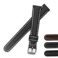 12mm 14mm 16mm 18mm Italian Genuine Leather Watch Strap Band Belt Black Brown