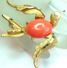 Vintage BSK BIRD BROOCH Jelly Belly Coral & Gold Plated Body Pearl Eye Brooch