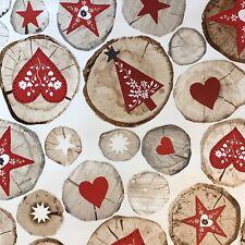 CHRISTMAS YULE LOG HEARTS STARS TREES PVC OIL VINYL TABLE CLOTH RED WHITE BEIGE