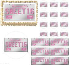 Sweet 16 License Plate Teen Edible Cake Topper Image Frosting Sheet Cupcake