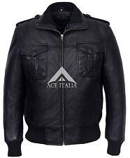 Men's BLACK Short Bomber 6996 Aviator Pilot Real Lamb Leather Jacket