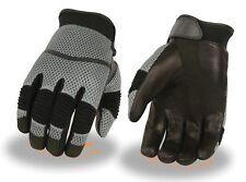 Men's Grey Leather/Mesh Racing Sportbike Glove w/ Wrist Strap & Flex Knuckles