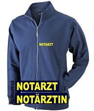 Notarzt / Notärztin Sweat Jacke / Pullover navy mit Brust- und Rückenaufdruck*