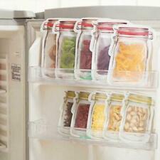 New listing 10Pcs Mason Jar Zipper Bags Food Storage Snack Sandwich Ziplock Reusable Seal