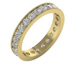 Genuine Diamond Milgrain Eternity Anniversary Ring VS1 F 2.15Ct 14K Yellow Gold