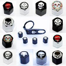 4 Ventilkappen + Schlüsselanhänger Totenkopf Ventil chrom schwarz Radkappen