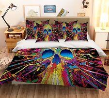 3D Color Skeleton 51 Bed Pillowcases Quilt Duvet Cover Set Single Queen Us