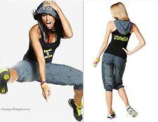 ZUMBA 3Pc.SET!! Cargo CaprI Pants +Hoodness V Bra +Feel the Music Racerback Tank