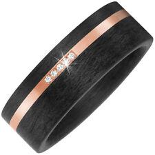 Ancho partner-ring 5 BRILLANTES Carbono & Oro 585 oro rojo Mates 8mm Ancho