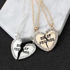 Best Friends Necklace Sliver Gold Broken Heart Set BFF Pendant For Friendship D