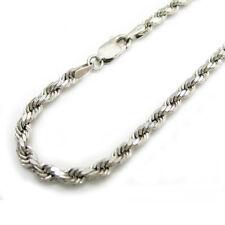 """10K White Gold 2MM Diamond Cut Mens Womens Rope Chain Bracelet 7"""" - 8"""""""