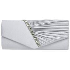 CASPAR TA391 Damen Satin Clutch Tasche Abendtasche elegant Glitzer Strass Falten