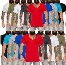 Herren feinripp T-Shirt mit Knopfleiste tiefer V-Ausschnitt slimfit Schwarz Weiß