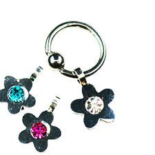 Ring mit Blume Anhänger Helix Tragus Piercing in 1,2 u 1,6mm mit Kristall NEU!
