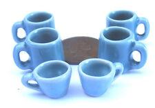 1:12 scala 6 x dipinto a mano turchese DOLLS HOUSE miniatura CAFFÈ TAZZE / TAZZINE