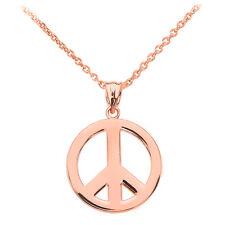 Fine 14k Rose Gold Open Boho Peace Symbol Pendant Necklace