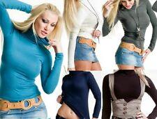 SeXy Miss Damen Rolli leichter Langarm Shirt TOP Pulli 34/36/38 Rollkragen