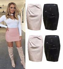 Señoras Mujeres Celebridades PU cuero Wet Look PVC cremallera trasera Lápiz Mini Falda De Fiesta