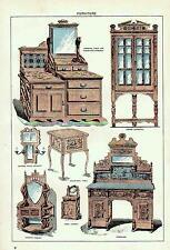C1900 victorian print ~ meubles buffet d'angle armoire lavabo