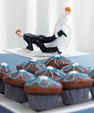 Bride Dragging Groom Funny Couple Wedding Cake Topper