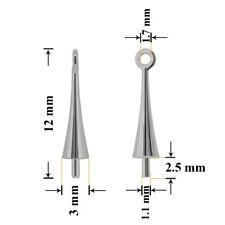 Argent Belière Broche Tasse avec Anneau Perle 12x3mm Rhodium Plaqué * Apprêt