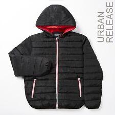 Mens Padded Vegan Lightweight Hooded Jacket Black Winter Puffer Coats Zipper UK
