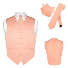 Men's Dress Vest NeckTie Hanky PEACH Pink Color Neck Tie Set for Suit or Tuxedo