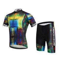 Men's Cycle Clothing Bike Bicycle Jersey Shirt & Padded Cycling Shorts Kit S-5XL