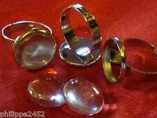 Lot de 1 à 40 Support Bague réglable couleur argent + Cabochon verre 14 mm