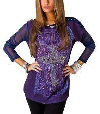 Damen Chiffon Shirt Longsleeve T-Shirt Strass Langarm Gothik Gotik Kreuz, Lila