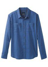 Prana Trey LS flanella Shirt, Camicia manica lunga uomo, Equinox Blue