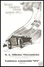 PUBBLICITA' 1926 AUTO OM BRESCIA CORSA VELOCITA' BANDIERA VITTORIA CAPPADONIA