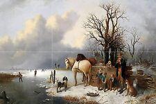 Winter G. Kondratenko people horse Tile Mural Wall Backsplash Art Marble Ceramic