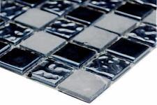 Mosaikfliese Stein mix grau/schwarz Glas Naturstein Wand Art: 62-0302-GN_b