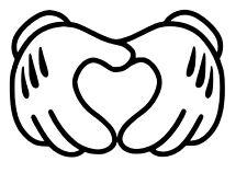 Mickey Mouse hands form heart Disney Window Car Truck Vinyl Decal Sticker