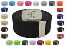 "Canvas Military Web Belt & BIG ""E"" Silver Buckle 48, 54, 60, 72 Inches 25 Color"