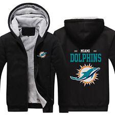 Miami Dolphins Thicken Hoodies Winter Warm Sweatshirts Men's Fleece Hooded Coat