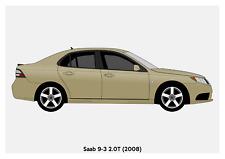 POSTER - SAAB 9-3 Saloon - (A4 A3 A2 sizes) Art Print Car RENDER