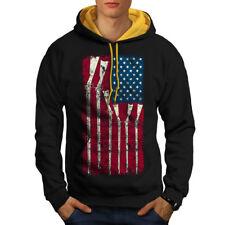 USA Nativo Bandera Estrella América Hombre Sudadera Con Capucha En Contraste