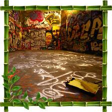 Sticker mural trompe l'oeil déco bambou Tag Graphitti réf 924