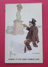 PERCY CROSBY CHEESE IT KID HERE COMESH COP VINTAGE POSTCARD 1911